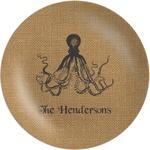 Octopus & Burlap Print Melamine Plate (Personalized)