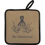 Octopus & Burlap Print Pot Holder (Personalized)