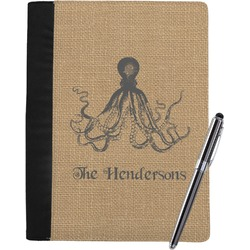Octopus & Burlap Print Notebook Padfolio (Personalized)