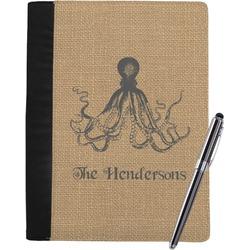 Octopus & Burlap Print Notebook Padfolio (Personalized)