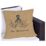 Octopus & Burlap Print Outdoor Pillow (Personalized)