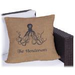 Octopus & Burlap Print Outdoor Pillow (Personalized)