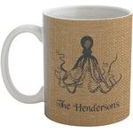 Octopus & Burlap Print Coffee Mug (Personalized)