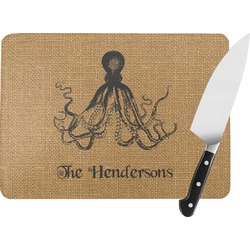 Octopus & Burlap Print Rectangular Glass Cutting Board (Personalized)
