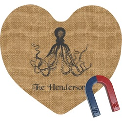 Octopus & Burlap Print Heart Fridge Magnet (Personalized)