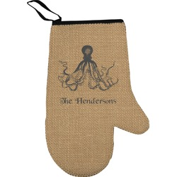 Octopus & Burlap Print Right Oven Mitt (Personalized)