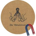 Octopus & Burlap Print Round Magnet (Personalized)