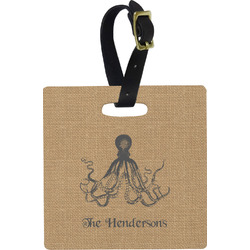 Octopus & Burlap Print Square Luggage Tag (Personalized)