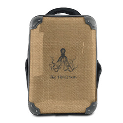 Octopus & Burlap Print Hard Shell Backpack (Personalized)