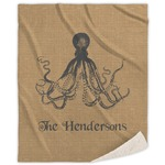 Octopus & Burlap Print Sherpa Throw Blanket (Personalized)