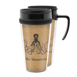 Octopus & Burlap Print Acrylic Travel Mugs (Personalized)