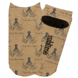 Octopus & Burlap Print Adult Ankle Socks (Personalized)