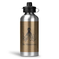 Octopus & Burlap Print Water Bottle - Aluminum - 20 oz (Personalized)