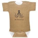 Octopus & Burlap Print Baby Bodysuit (Personalized)