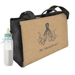 Octopus & Burlap Print Diaper Bag w/ Name or Text