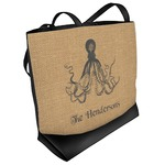 Octopus & Burlap Print Beach Tote Bag (Personalized)