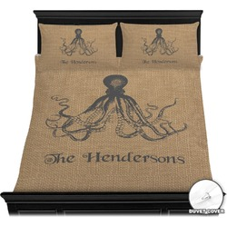 Octopus & Burlap Print Duvet Cover Set (Personalized)