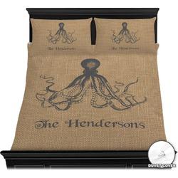 Octopus & Burlap Print Duvet Cover Set (Personalized)