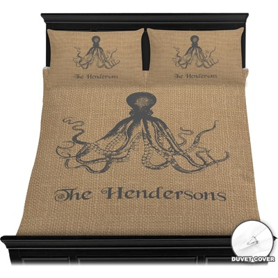 Octopus & Burlap Print Duvet Cover Set - Full / Queen (Personalized)