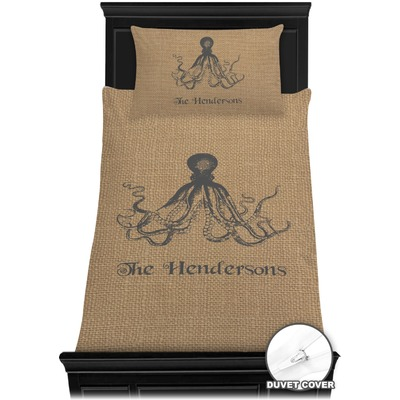 Octopus & Burlap Print Duvet Cover Set - Twin (Personalized)