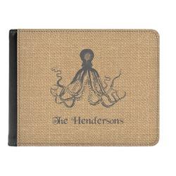Octopus & Burlap Print Genuine Leather Men's Bi-fold Wallet (Personalized)