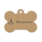 Octopus & Burlap Print Bone Shaped Dog ID Tag (Personalized)