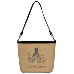 Octopus & Burlap Print Bucket Bag w/ Genuine Leather Trim (Personalized)