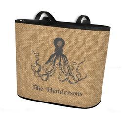 Octopus & Burlap Print Bucket Tote w/ Genuine Leather Trim (Personalized)