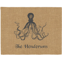 Octopus & Burlap Print Woven Fabric Placemat - Twill w/ Name or Text