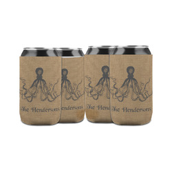 Octopus & Burlap Print Can Sleeve (12 oz) (Personalized)