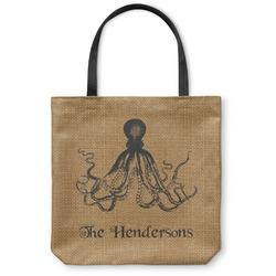 Octopus & Burlap Print Canvas Tote Bag (Personalized)