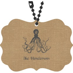 Octopus & Burlap Print Rear View Mirror Charm (Personalized)