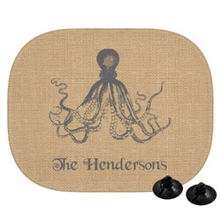 Octopus & Burlap Print Car Side Window Sun Shade (Personalized)