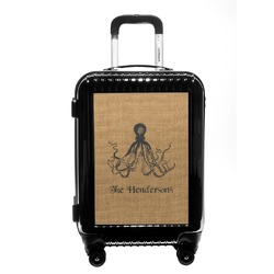 Octopus & Burlap Print Carry On Hard Shell Suitcase (Personalized)