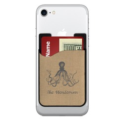 Octopus & Burlap Print 2-in-1 Cell Phone Credit Card Holder & Screen Cleaner (Personalized)