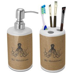 Octopus & Burlap Print Bathroom Accessories Set (Ceramic) (Personalized)