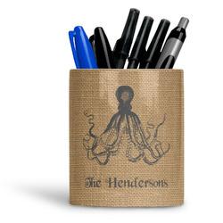 Octopus & Burlap Print Ceramic Pen Holder