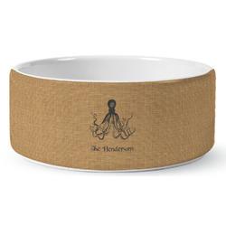 Octopus & Burlap Print Ceramic Dog Bowl (Personalized)