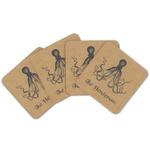 Octopus & Burlap Print Cork Coaster - Set of 4 w/ Name or Text