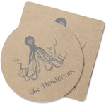 Octopus & Burlap Print Rubber Backed Coaster (Personalized)