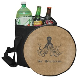 Octopus & Burlap Print Collapsible Cooler & Seat (Personalized)