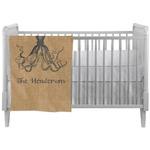 Octopus & Burlap Print Crib Comforter / Quilt (Personalized)