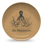 Octopus & Burlap Print Microwave Safe Plastic Plate - Composite Polymer (Personalized)