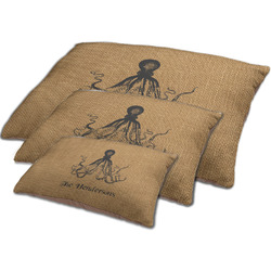 Octopus & Burlap Print Dog Bed w/ Name or Text
