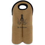 Octopus & Burlap Print Wine Tote Bag (2 Bottles) (Personalized)