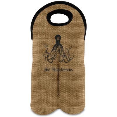 Octopus & Burlap Print Wine Tote Bag (2 Bottles) (Personalized)