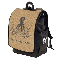 Octopus & Burlap Print Backpack w/ Front Flap  (Personalized)