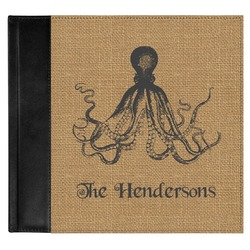 Octopus & Burlap Print Genuine Leather Baby Memory Book (Personalized)