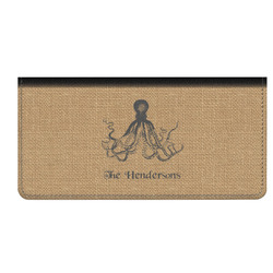 Octopus & Burlap Print Genuine Leather Checkbook Cover (Personalized)
