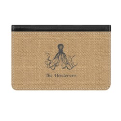 Octopus & Burlap Print Genuine Leather ID & Card Wallet - Slim Style (Personalized)
